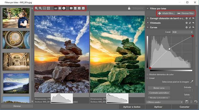 Interfaz del Filtro por lotes Puedes visualizar el histograma, las partes sobreexpuestas del imágen o la información sobre la foto.