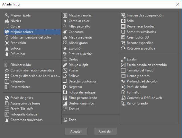 Una gama completa de filtros que se pueden seleccionar en entorno de la edición por lotes.