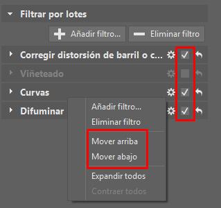 Más tarde podrás desactivar los filtros seleccionados o modificar su orden.
