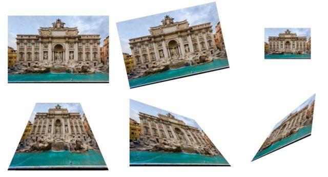 Una sola imagen con seis capas, cada una con otro tipo de transformación.