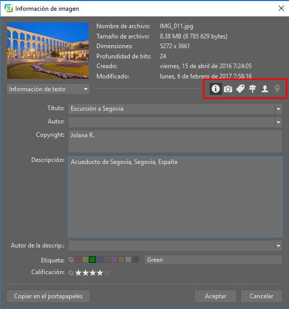 En Zoner Photo Studio también puedes añadir con facilidad la información de texto o coordenadas GPS.