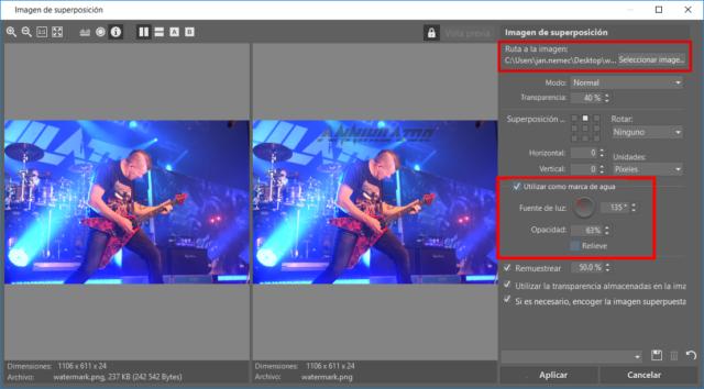 Los parámetros para la marca de agua de tipo imagen, se ajustan con la misma facilidad que los de la de tipo texto.