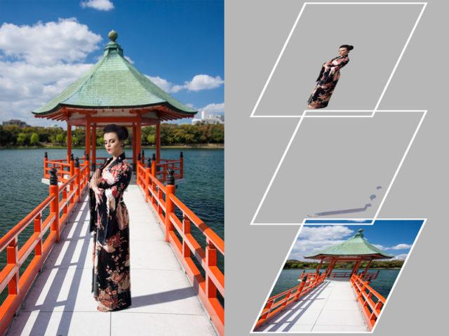 Tres capas juntas crean una imagen compuesta.