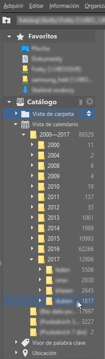 La vista de calendario muestra las imágenes en función de la fecha en la que se hicieron.
