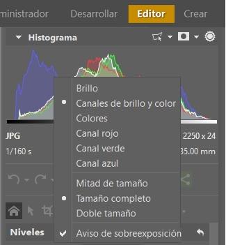 Al de hacer clic con el botón derecho sobre el histograma, aparecerá un menú con las opciones de visualización.
