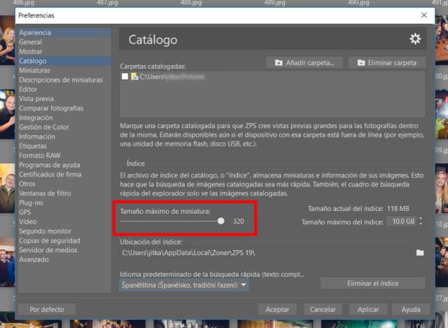 En la configuración del catálogo, podremos ajustar el tamaño máximo de la vista preliminar de las imágenes que aparecen en el Administrador.