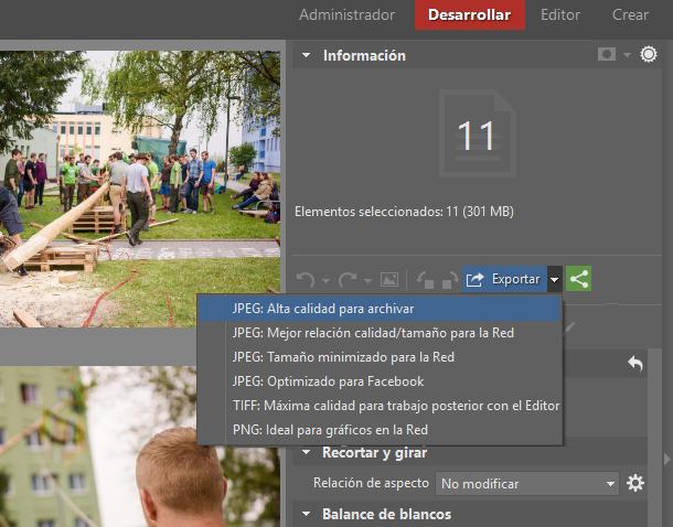 Simplifica la edición de fotografías. Con la ayuda de la edición por lotes en el módulo Desarrollar: Por último, exportaremos las fotos.