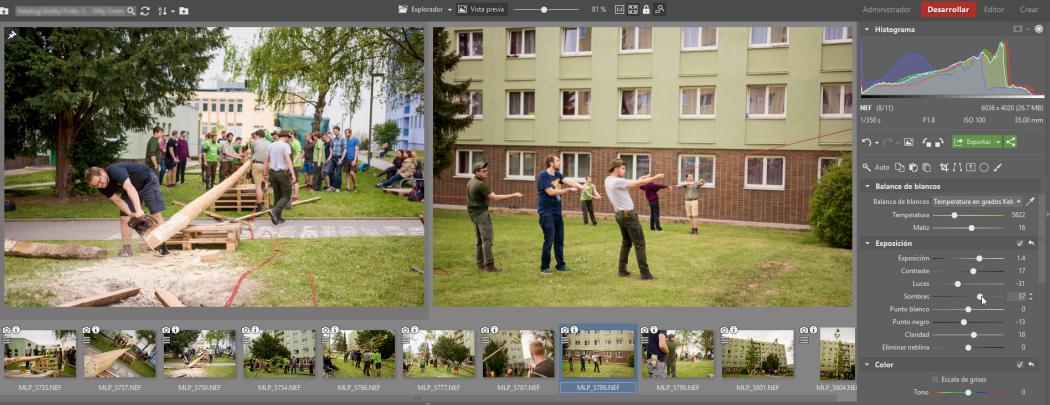 Simplifica la edición de fotografías. Con la ayuda de la edición por lotes en el módulo Desarrollar: Fija una imagen de referencia para comparar con el resto.