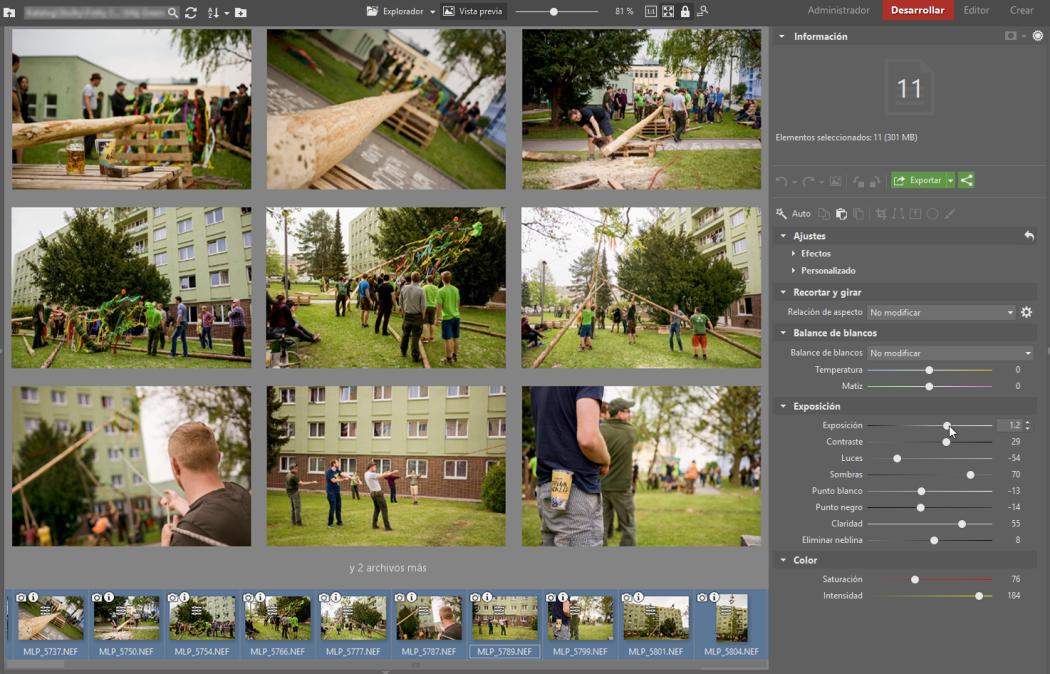 Simplifica la edición de fotografías. Con la ayuda de la edición por lotes en el módulo Desarrollar: Selecciona las fotos y ajusta los parámetros.