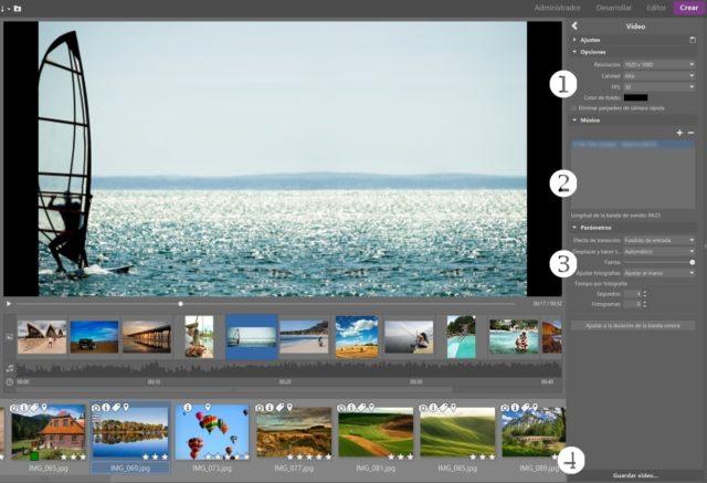 Cómo crear un vídeo a partir de fotos: : Modifica los parámetros del vídeo y añade la música