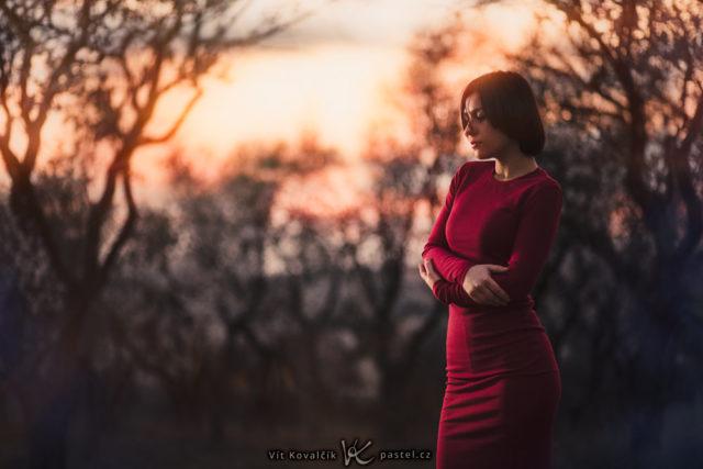Crea retratos sugestivos en naturaleza: La modelo se encuentra en uno de los lados de la imagen, para que destaque la puesta de sol en el fondo.
