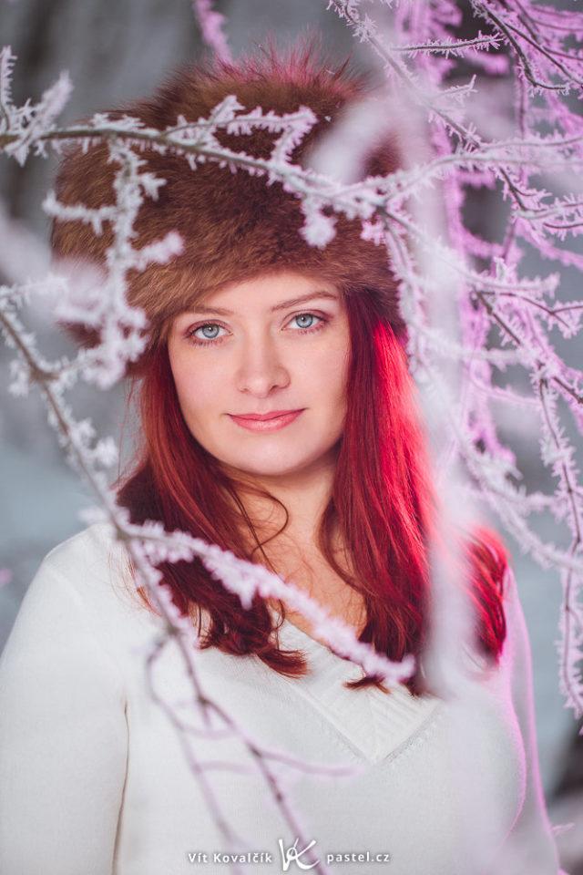 Crea retratos sugestivos en naturaleza: Incluso las ramas desnudas y heladas de la foto pueden parecer impresionantes.