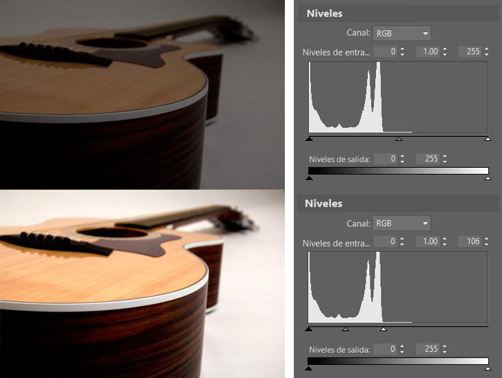 Controla el espectro de color de las fotos con ayuda de los niveles: Al establecer un límite superior al blanco podemos obtener un resultado bastante decente incluso a partir de una foto bastante oscura.