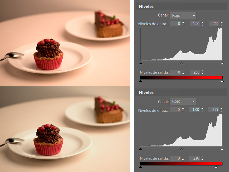 Controla el espectro de color de las fotos con ayuda de los niveles: Las tonalidades rojas.