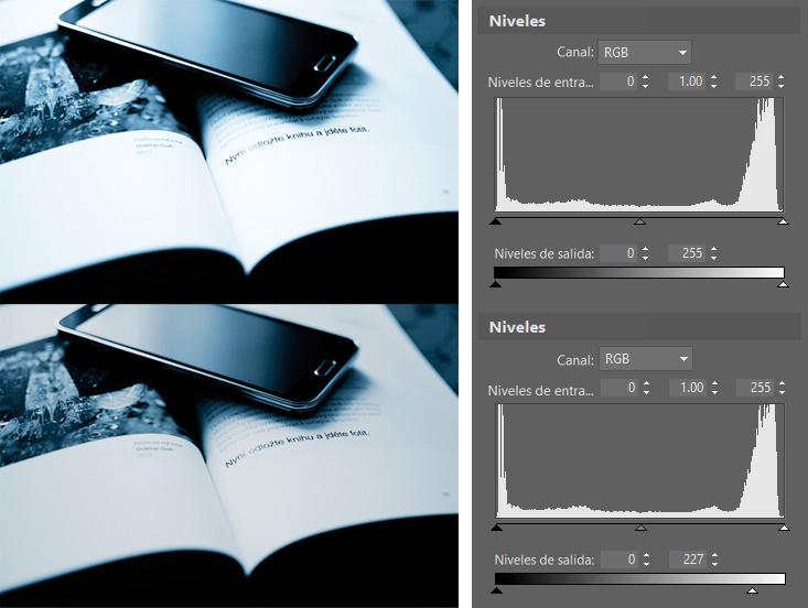 Controla el espectro de color de las fotos con ayuda de los niveles: La reducción del nivel de blanco.
