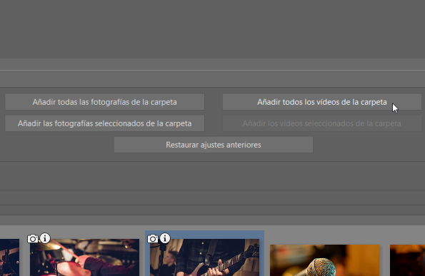 La edición de vídeos: añadir vídeos y fotos en una banda de tiempo.