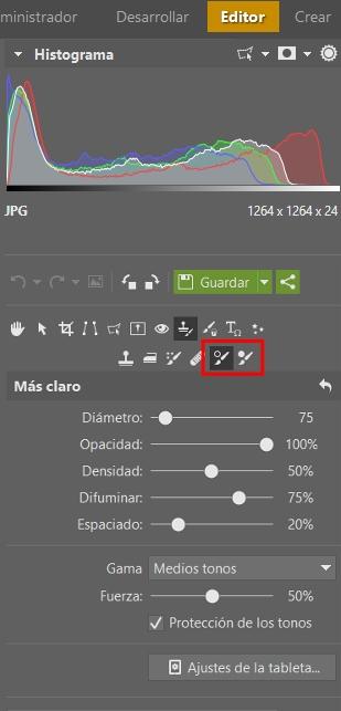 Retoques con la sobreexposición y la subexposición: Las herramientas Más claro y Más oscuro las encontraremos en el módulo Editor.