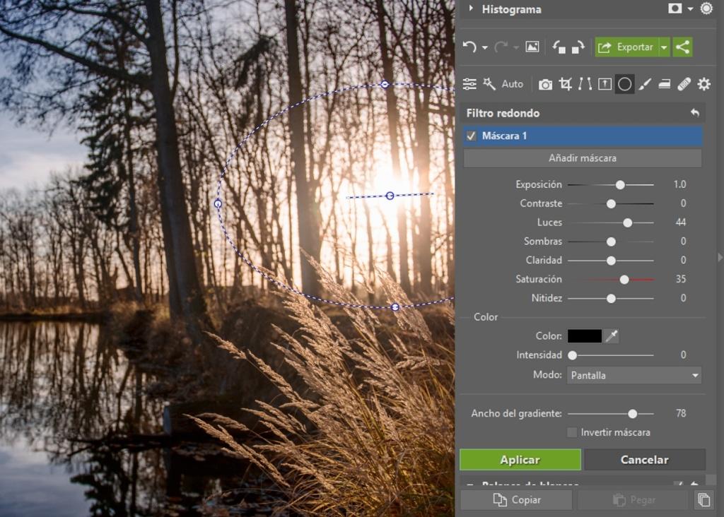 Cómo editar archivos RAW: filtro redondo.