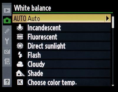 Balance de blancos por qué es importante y cómo usarlo: Las configuraciones previas del balance de blancos en una cámara Nikon.